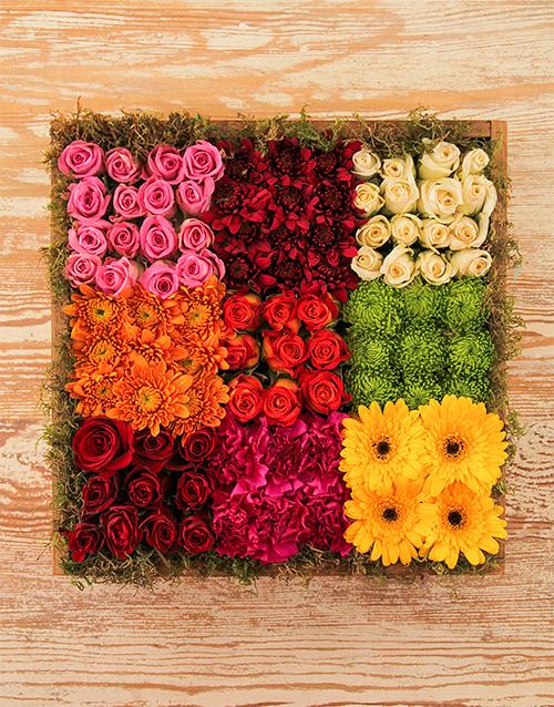 gerbera-daisies: Roses, Mini Gerberas & Sprays in a Wooden Crate!