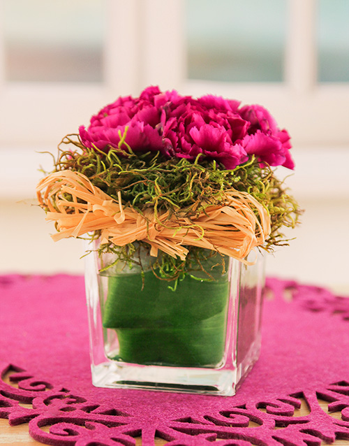 carnation: Carnations in a Petite Glass Vase!