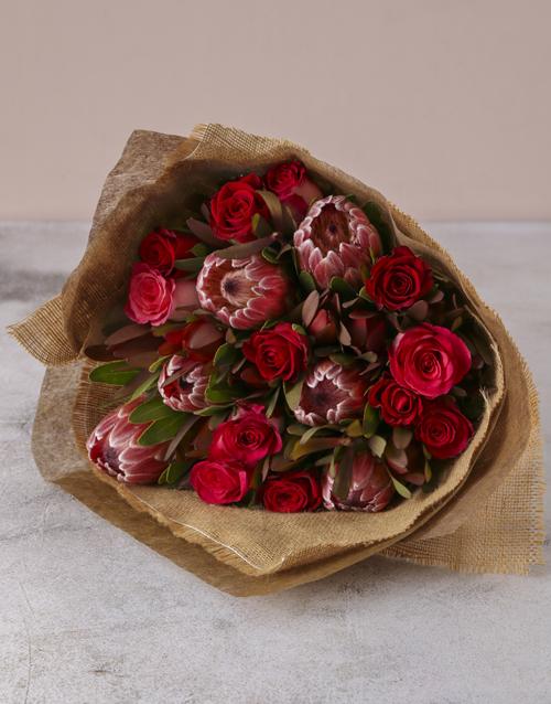 seasonal: Red Rose & Protea Medley Bouquet!