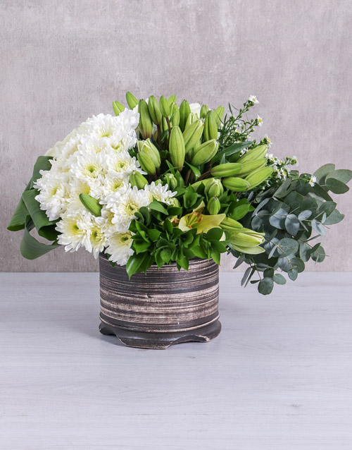 sympathy: White Mixed Flower Arrangement!