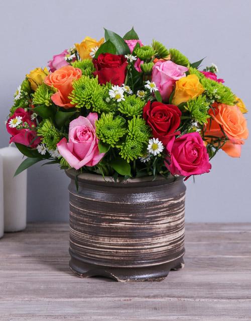pottery: Colourful Rose & Spray Arrangement!