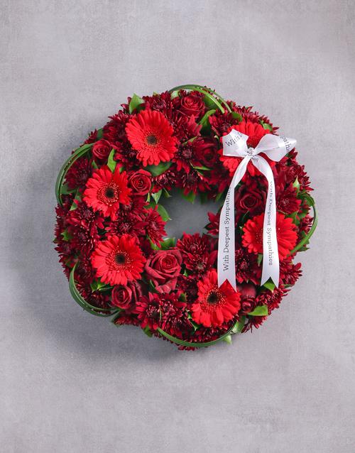 sympathy: Red Sprays, Roses and Gerberas Wreath!