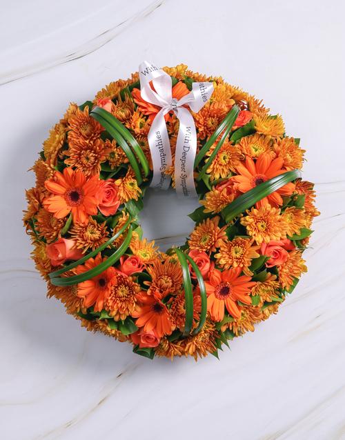 gerbera-daisies: Orange Roses and Gerberas Wreath!