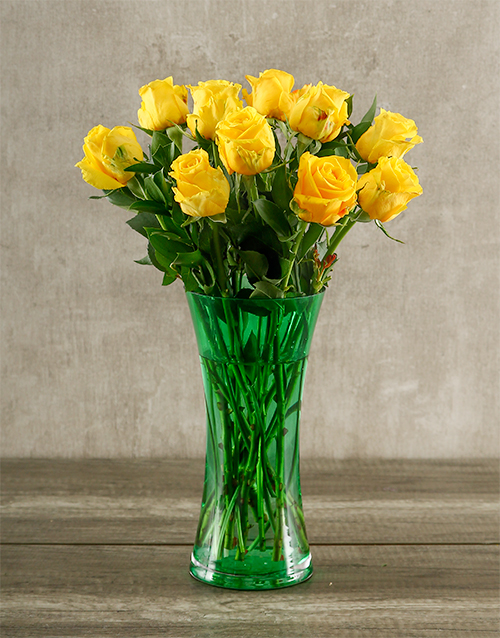vase: Yellow Roses in a Green Vase!