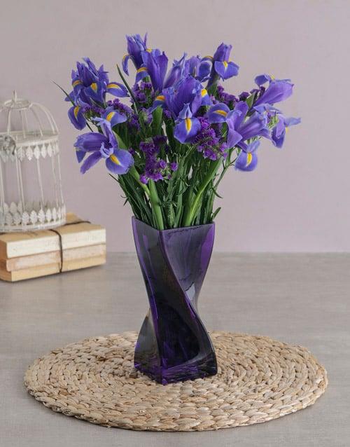 irises: Blue Irises in a Purple Twisted Vase!