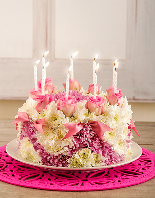 Buy pretty in pink flower cake online netflorist pretty in pink flower cake mightylinksfo Choice Image