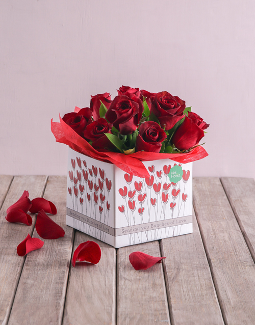 roses: Red Roses in Heart Box!