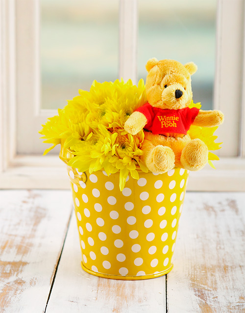 daisies: Yellow Poo Bear Flower Bucket!