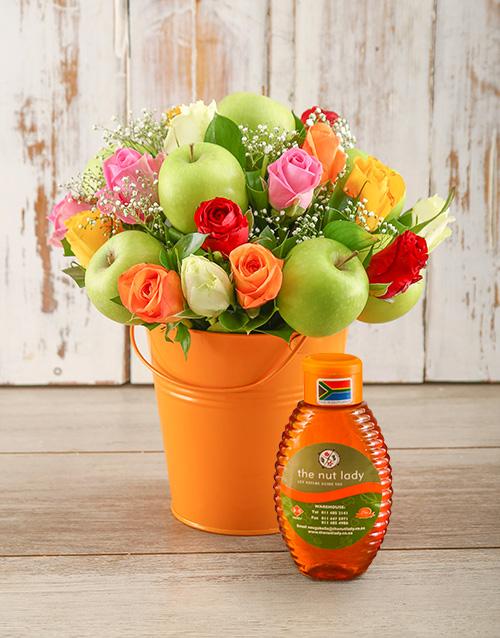 rosh-hashanah: Super Sweet Mixed Rose and Honey Arrangement!