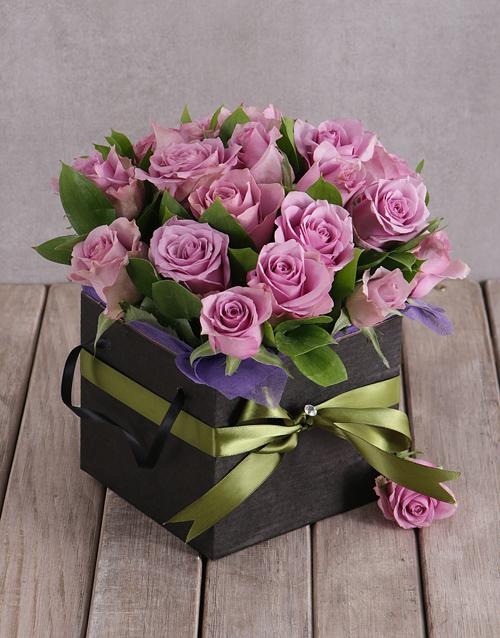in-a-box: Light Purple Roses in Black Box!