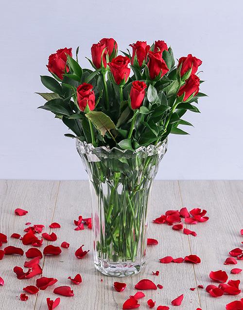 crystal-vases: Elegant Red Roses in Crystal Vase!