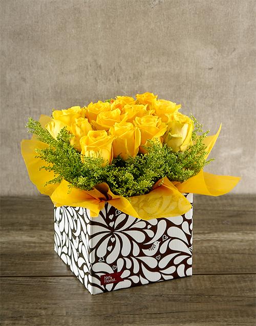 roses: Yellow Roses in Designer Box!