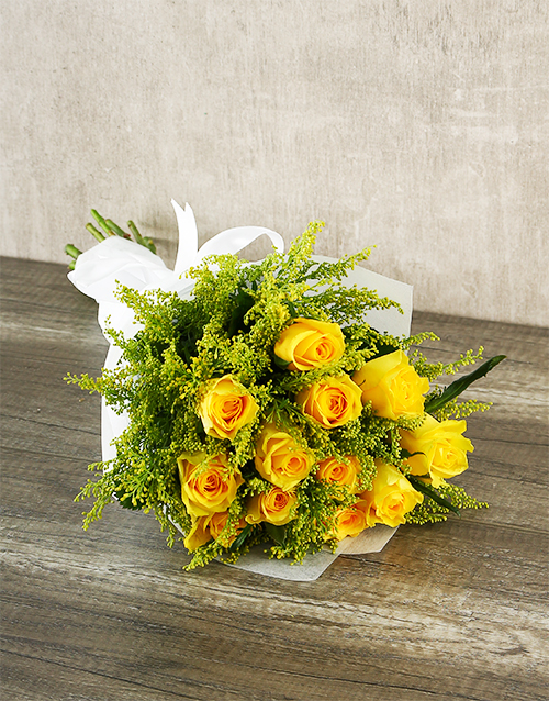 colour: Sunshine Yellow Rose Bouquet!