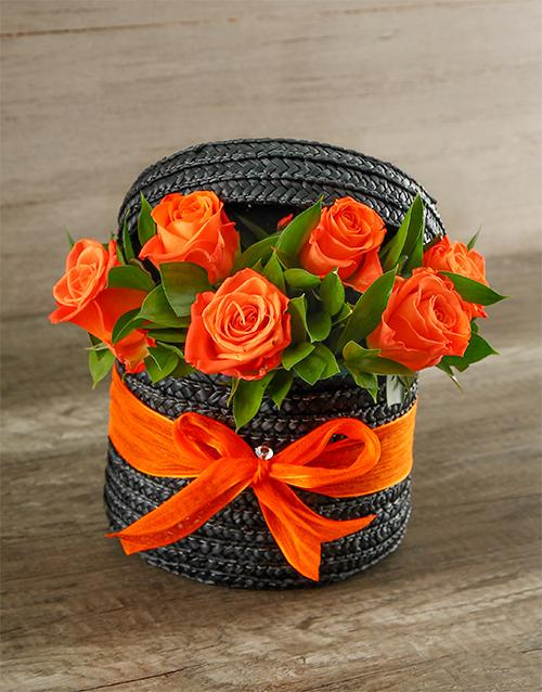 basket: Hat Box of Orange Roses!