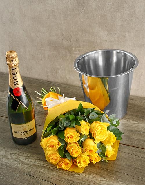 bouquets: Moet & Chandon Yellow Rose Surprise!