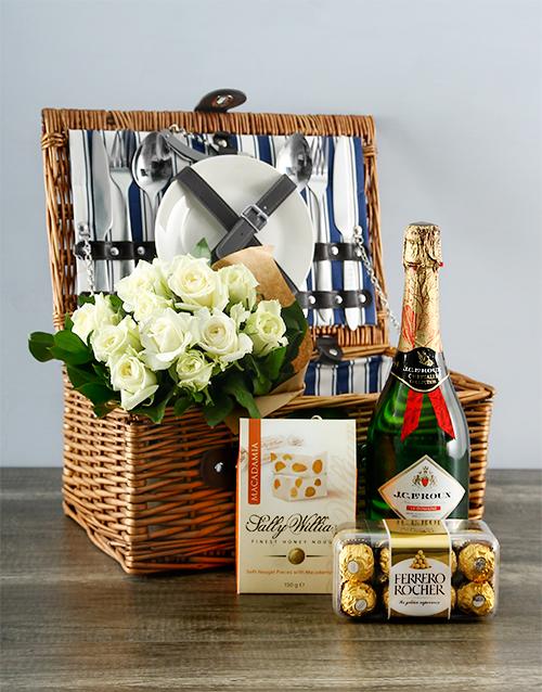 gourmet: White Rose Delight Picnic Basket!