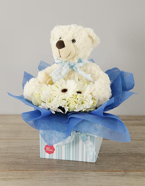 teddy-bears: Baby Boy Flower & Teddy Box!