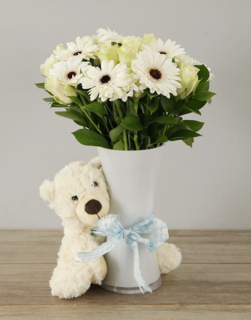 teddy-bears: Snow White Baby Boy Arrangement!