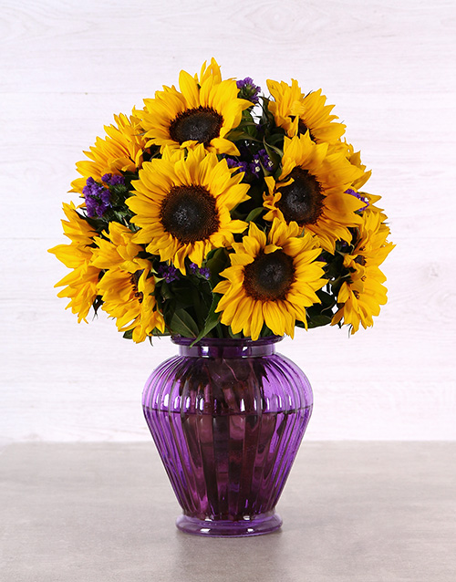 sunflowers: Sunflowers in a Purple Urn Vase!