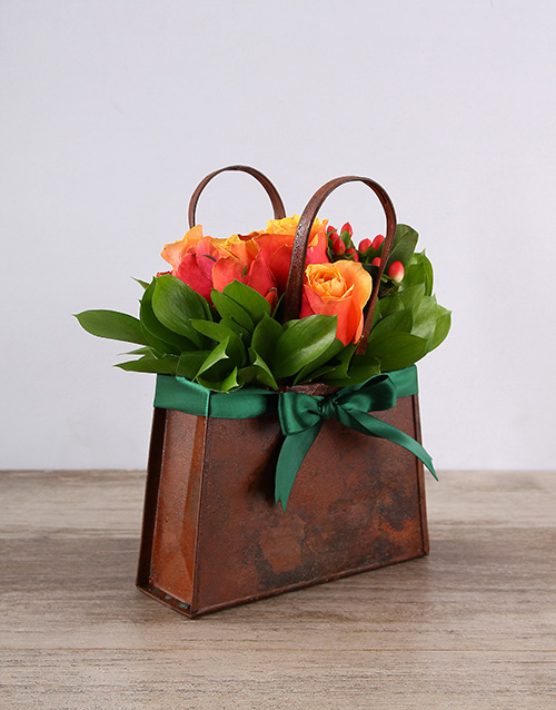 basket: Metal Handbag of Cherry Brandy Roses!