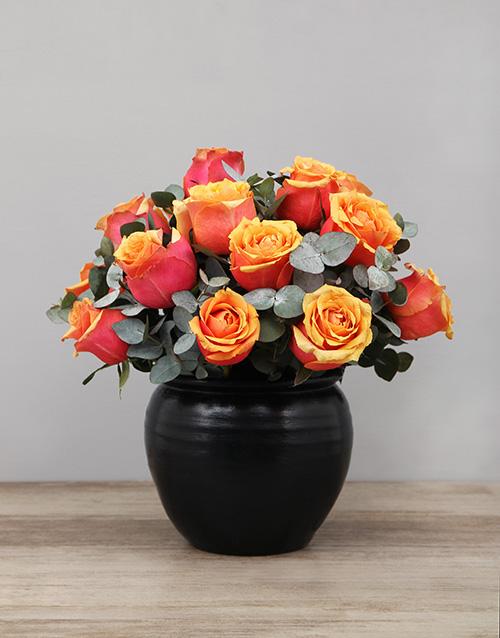 pottery: Cherry Brandy Roses in Black Ceramic Pot!