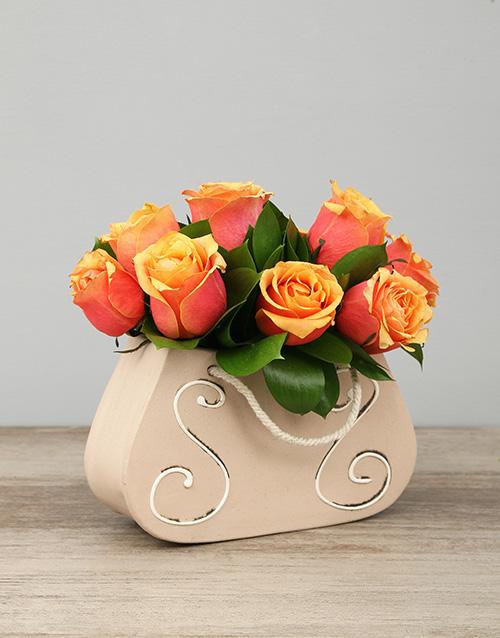 pottery: Ceramic Handbag of Cherry Brandy Roses!
