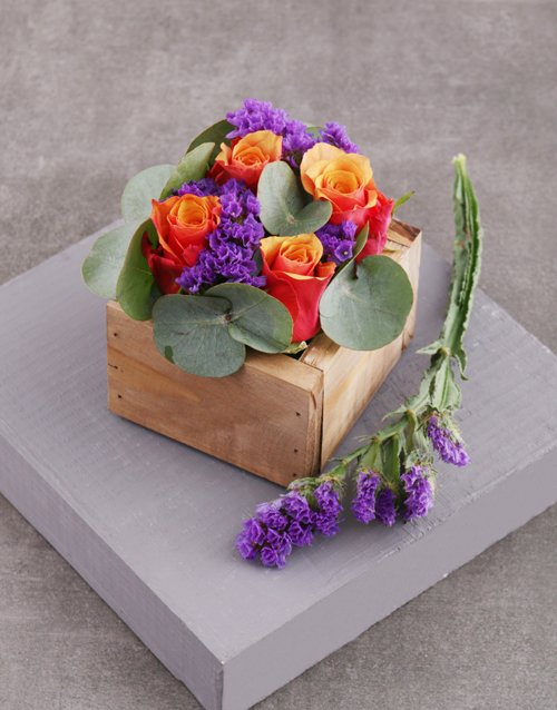 prices: Cherry Brandy Roses in Square Wooden Crate!