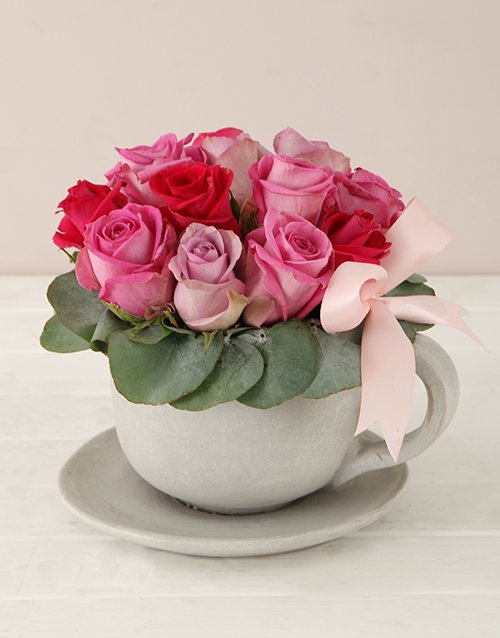 roses: Pink Swirl Tea Cup and Saucer Arrangement!