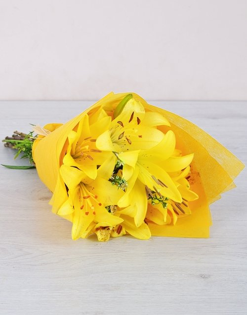 lilies: Yellow Asiflorum Lily Bouquet!