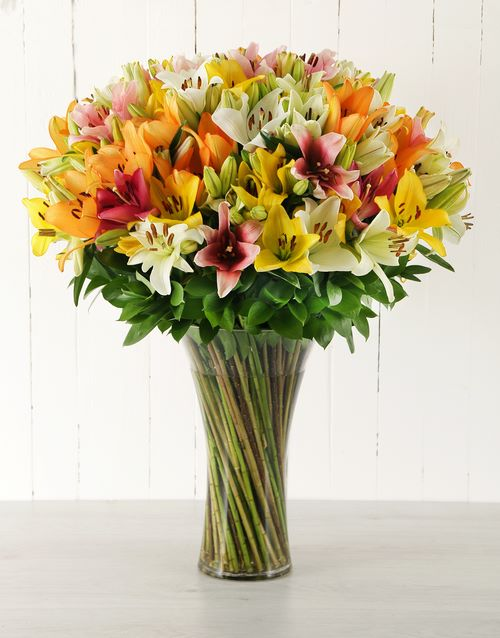 luxury: Mixed Asiflorum Lily Supreme Vase!