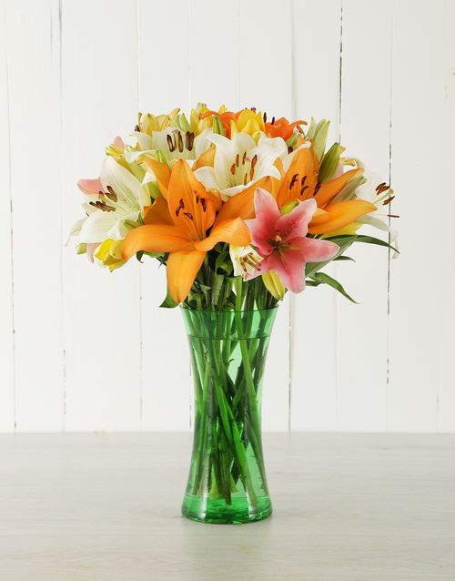 coloured-vases: Mixed Asiflorum Lilies in Green Vase!