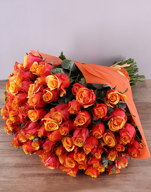 bouquets: Cherry Brandy Roses In Orange Wrapping!
