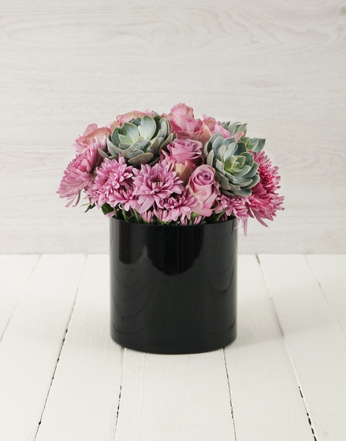coloured-vases: Roses & Succulents in Cylinder Vase!