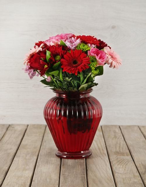 vase: Mixed Flowers in Red Lantern Vase!