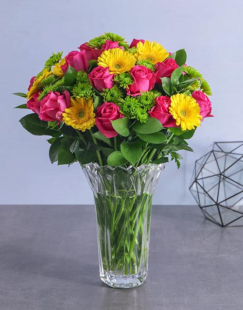 luxury: Mixed Flowers in Crystal Vase!