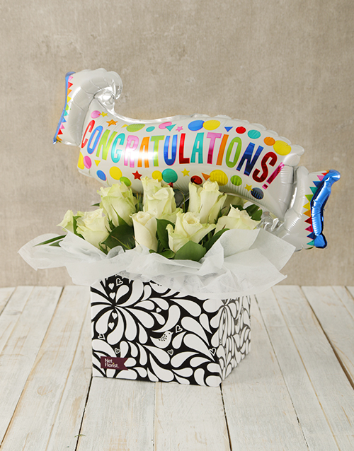 baby: Congratulations White Rose and Balloon Box!