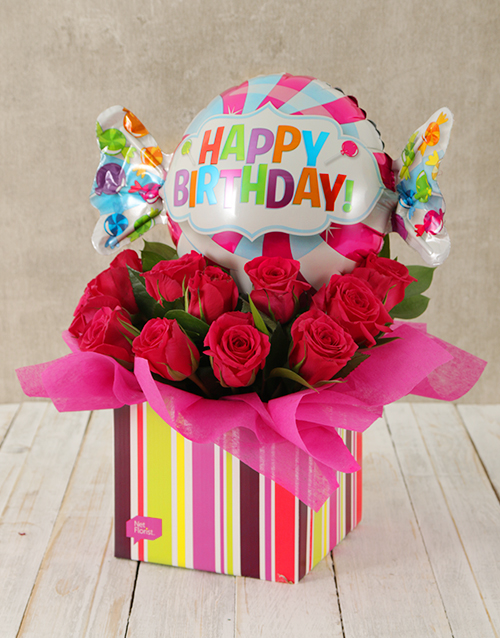 colour: Happy Birthday Cerise Rose and Sweety Balloon Box!