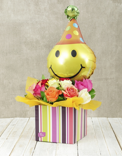 in-a-box: Mixed Rose and Smiley Balloon Box!
