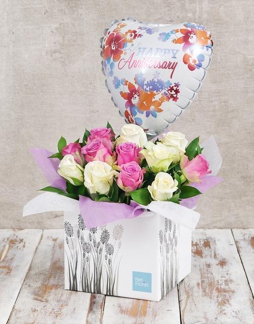 anniversary: Anniversary Watercolour  Rose and Balloon Box!