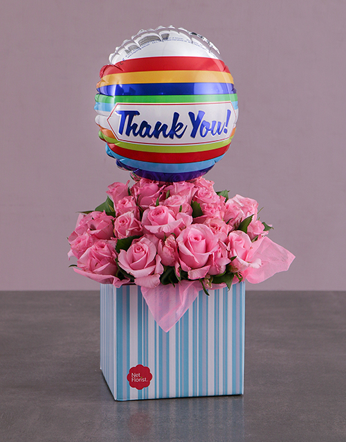 colour: Thank You Balloon and Pink Rose Box!