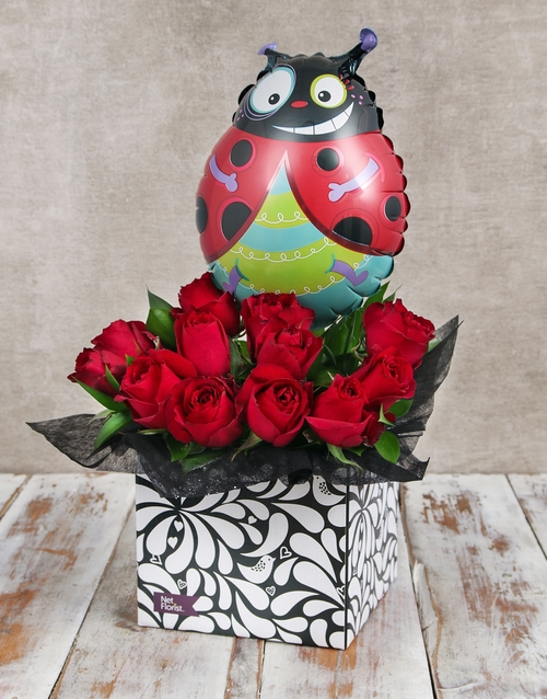 love-and-romance: Ladybug Balloon and Red Rose Box!