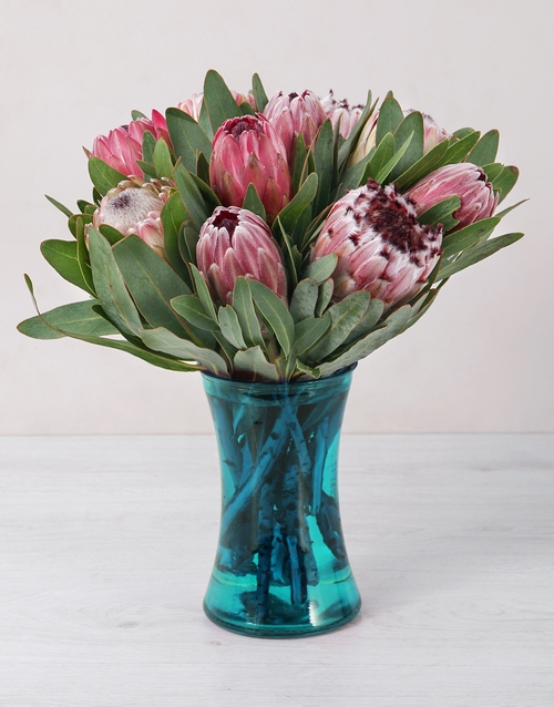 seasonal: Mixed Proteas in Blue Cylinder Vase!