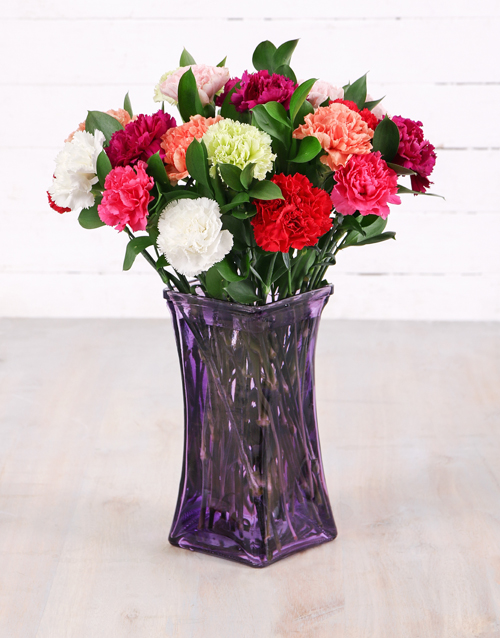 carnation: Mixed Carnations in Lady Flair Vase!