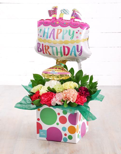 in-a-box: Mixed Carnations and Birthday Cake Balloon Box!