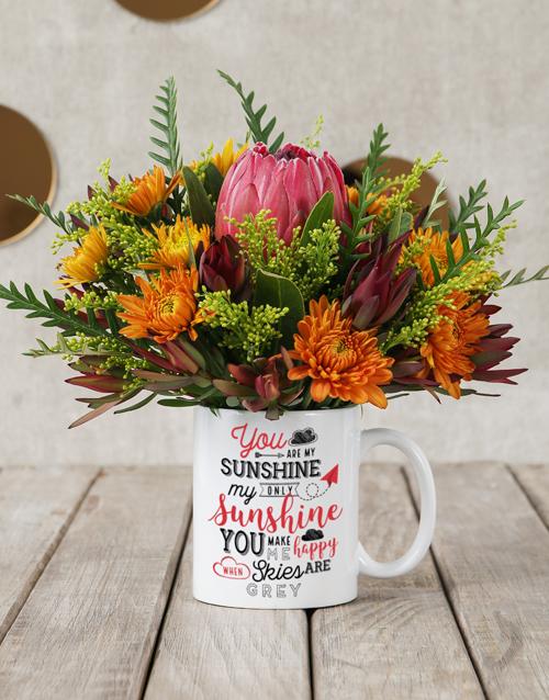 mugs: Sunshine Protea Mug Arrangement!