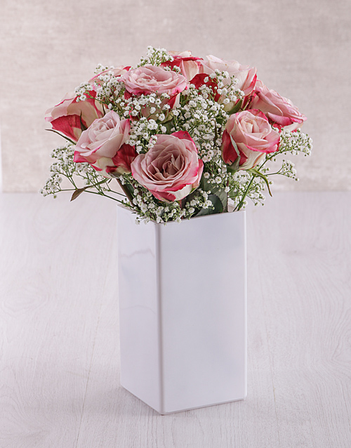 speciality: Variegated Roses in Square White Vase!