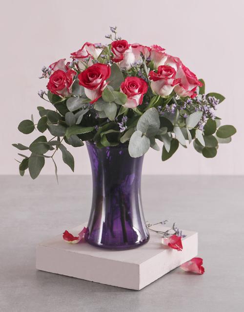 roses: Variegated Roses in Purple Lady Vase!