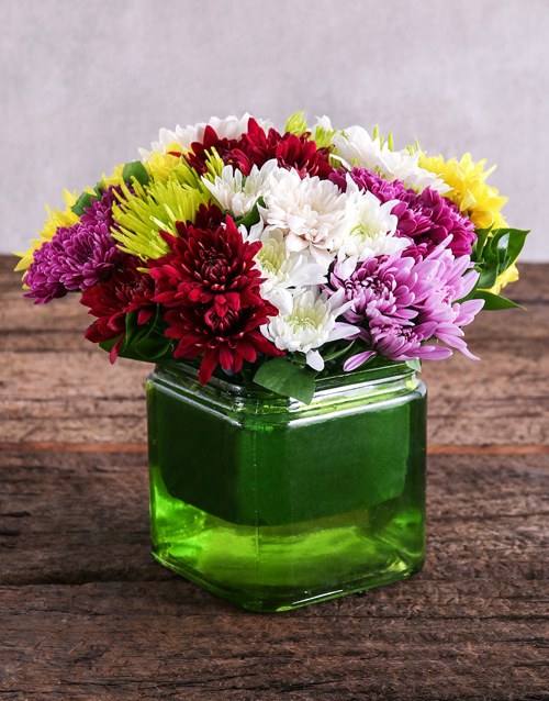 daisies: Mixed Sprays in Square Green Vase!
