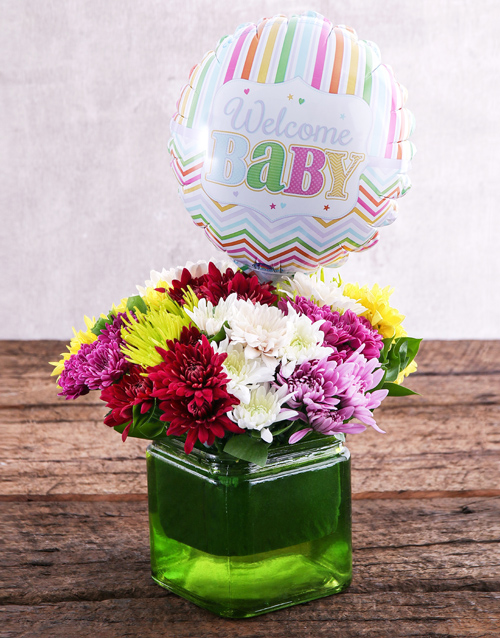 daisies: Welcome Baby Balloon and Sprays Gift!