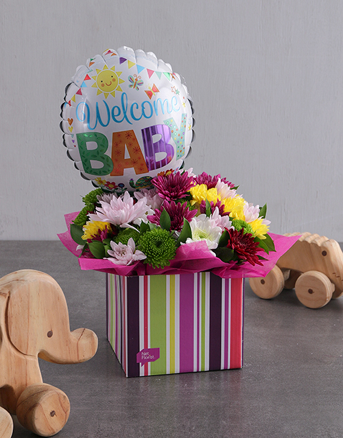 balloon: Welcome Baby Balloon and Sprays in Striped Box!